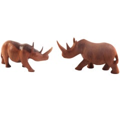 Pair of Whimsical Solid Rosewood Rhinoceroses