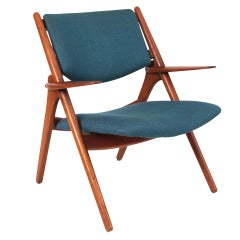 Sculptural Teak & Upholstered Danish Arm Chair