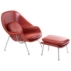 Early Eero Saarinen Knoll Womb Chair and Ottoman in Persimmon Orange Leather