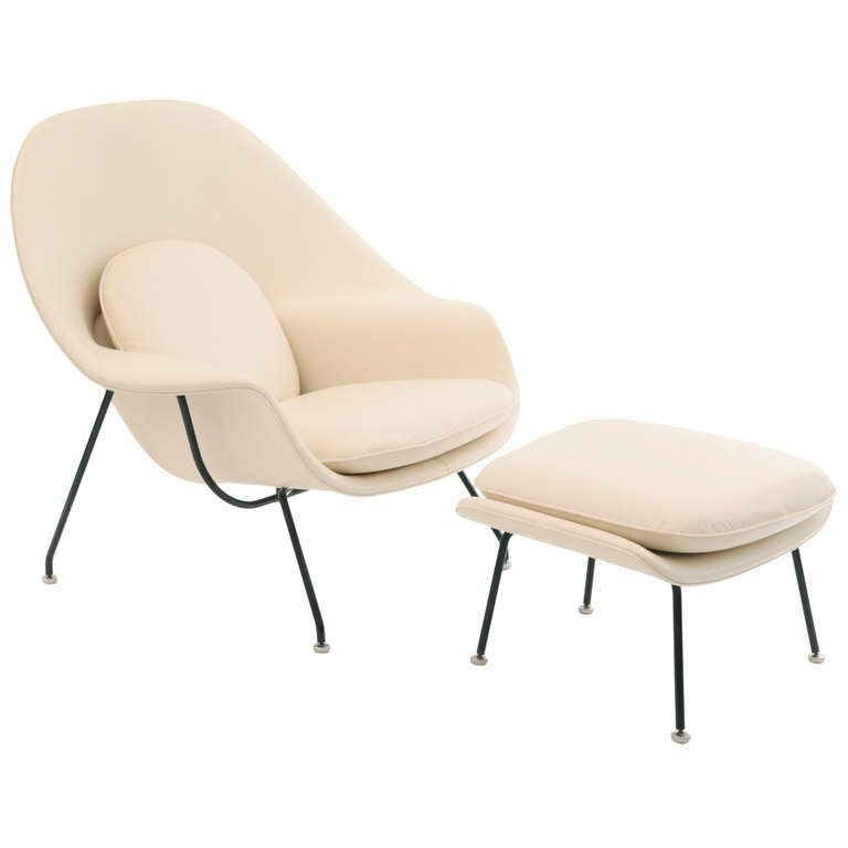 Early 1960s Eero Saarinen Knoll Leather Womb Chair and Ottoman