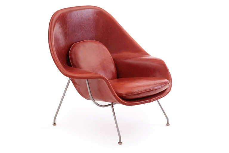 Early eero saarinen knoll womb chair and ottoman in persimmon orange leather image 3 - Leather womb chair ...