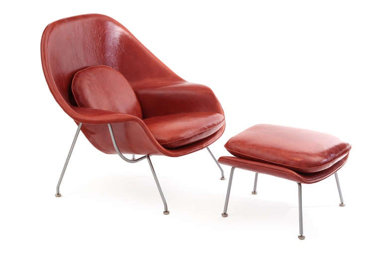 Early eero saarinen knoll womb chair and ottoman in persimmon orange leather image 2 - Leather womb chair ...