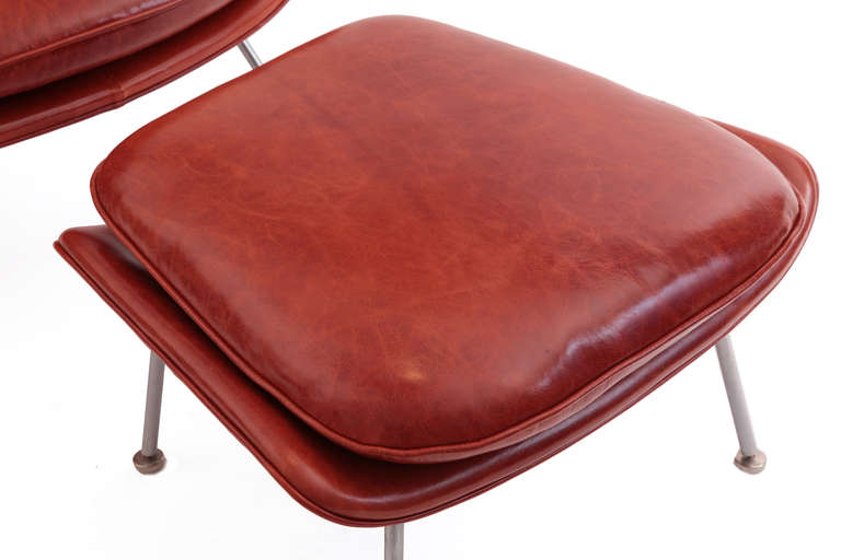 Early eero saarinen knoll leather womb chair and ottoman at 1stdibs - Leather womb chair ...