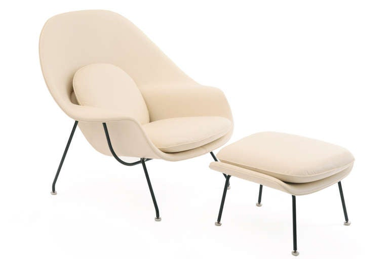 1960s eero saarinen knoll leather womb chair and ottoman at 1stdibs