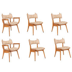 Carpathian Elm and Upholstered Dining Chairs by Harold Schwartz
