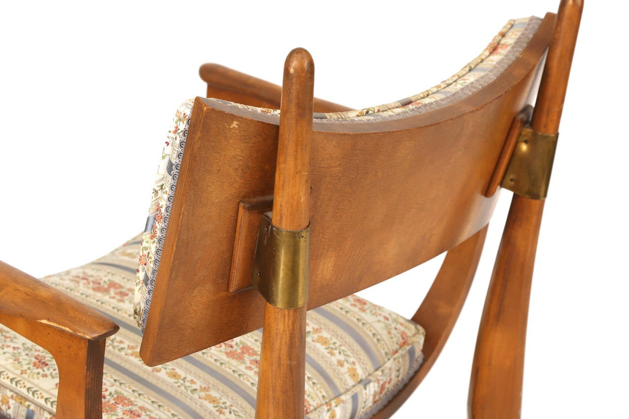 carpathian elm and upholstered dining chairs by harold