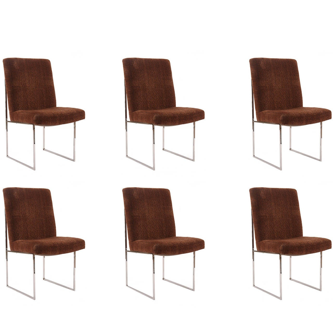 Milo Baughman Thayer Coggin Chrome And Upholstered Dining Chairs 1