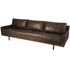 Stunning Down Filled Leather & Teak Sofa