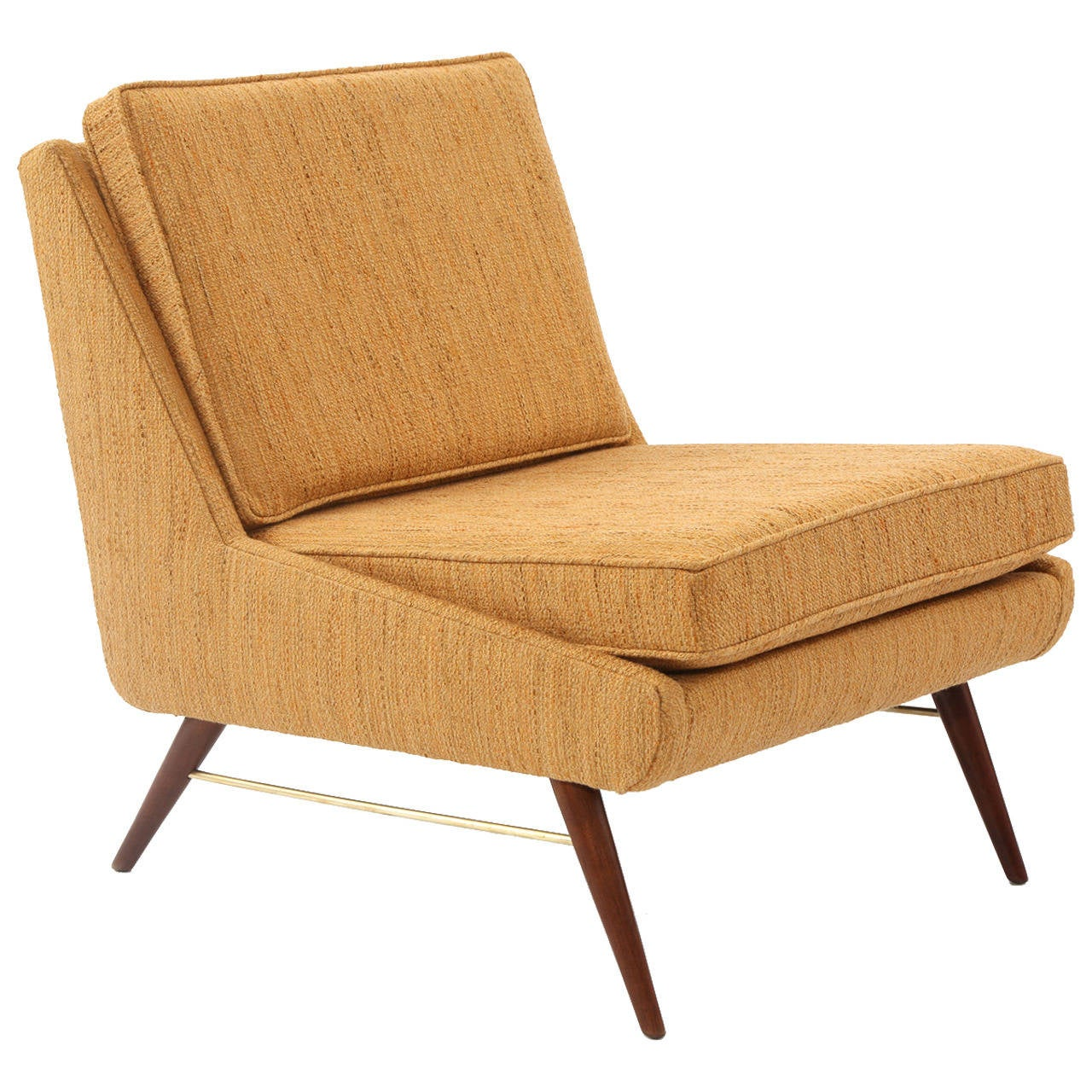 Paul McCobb Walnut Brass and Upholstered Lounge Chair at