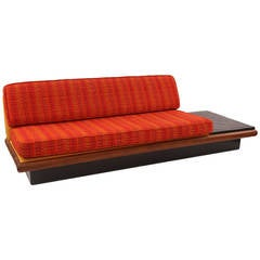 Adrian Pearsall Walnut Slate and Upholstered Sofa