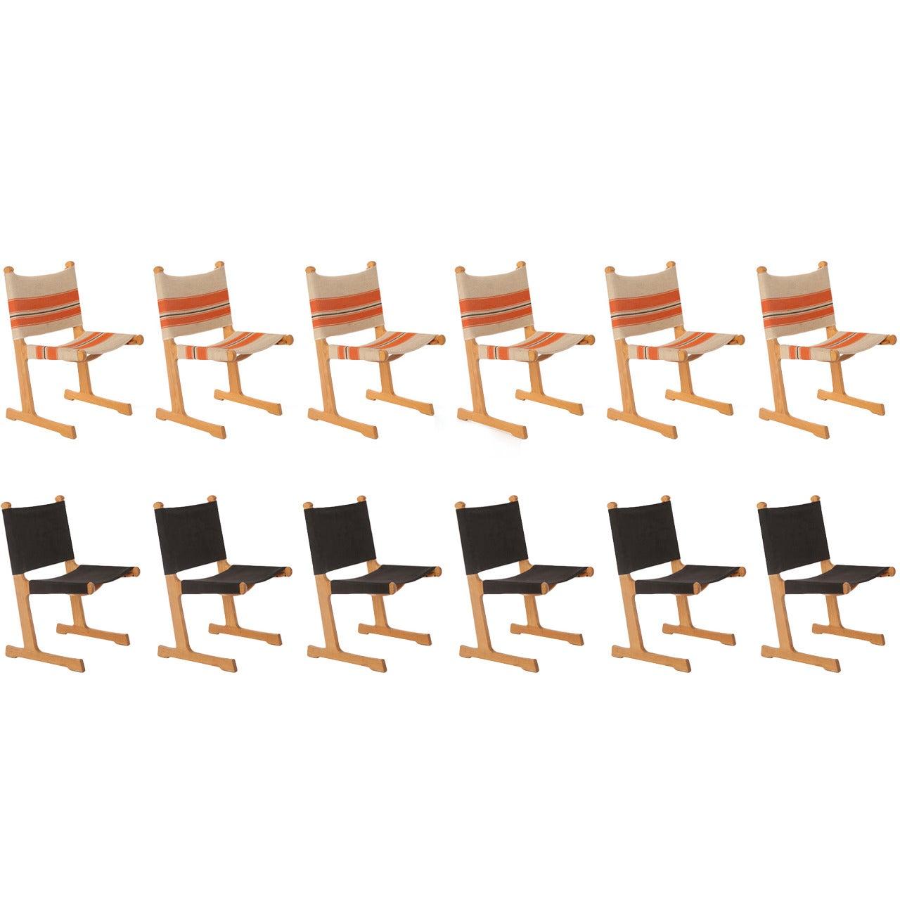 12 Oak Sling Dining Chairs by Adrian Heath for Cado