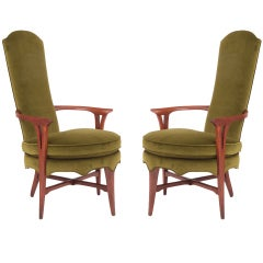 Exquisite Velvet And Walnut Italian Lounge Chairs