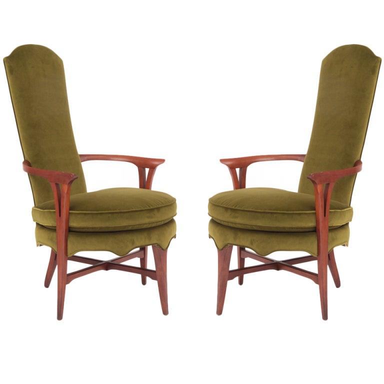 Exquisite Velvet and Walnut Italian Lounge Chairs