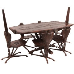 Brutalist Steel and Pine Dining Table and Chairs