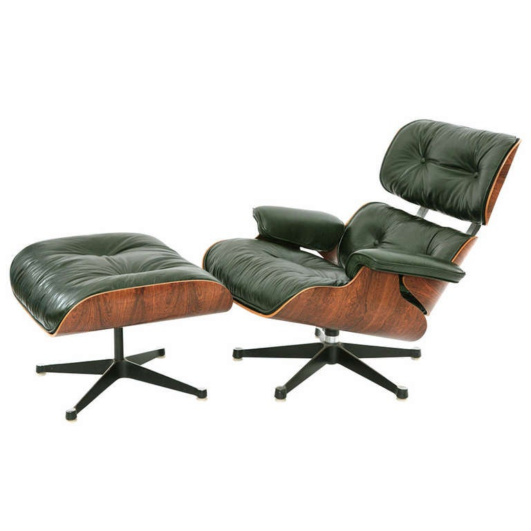 Charles And Ray Eames Green Leather Lounge Chair And Ottoman For Sale