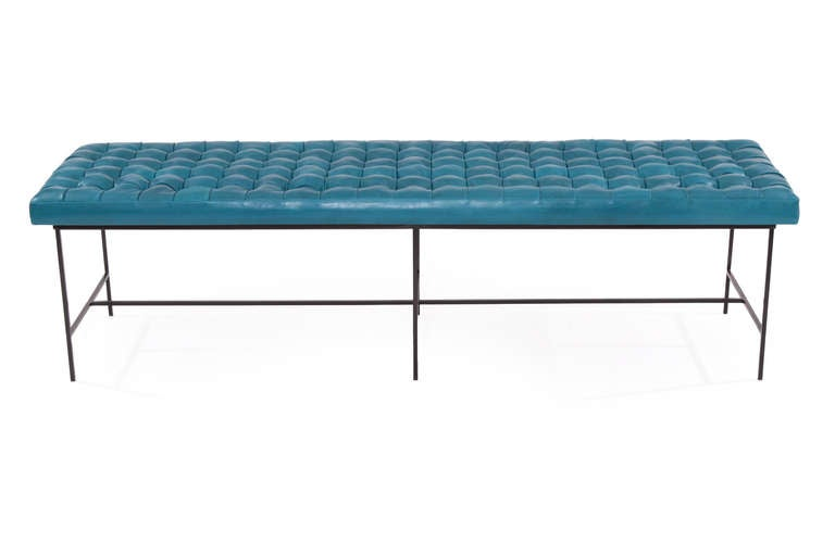 Micro Tufted Cerulean Blue Leather And Iron Bench At 1stdibs