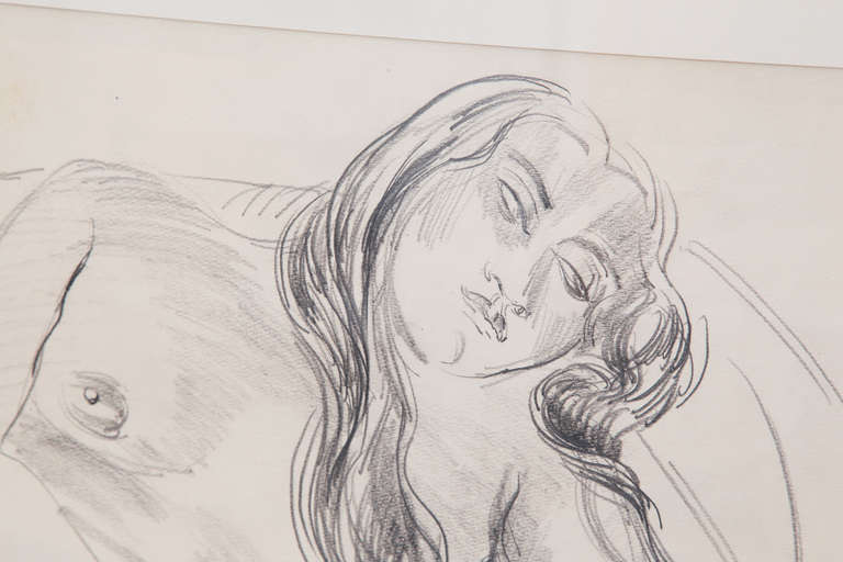 Sir Jacob Epstein pencil drawings circa early 1930s. There is a drawing on the front and back of the same piece of paper and thus the buyer is getting two examples for the price of one. It has been framed so that both images can be seen. This was