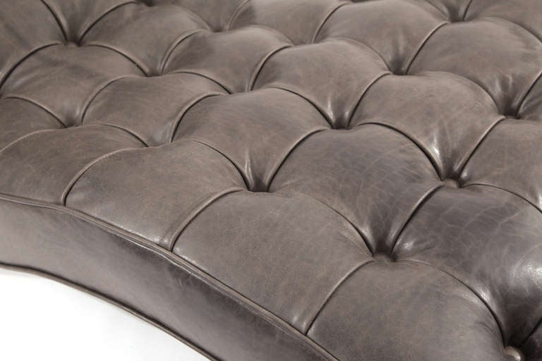 Pair of button tufted gray leather chaises lounges at 1stdibs for Button tufted chaise