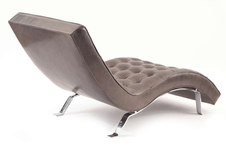 Pair of button tufted gray leather chaises lounges at 1stdibs for Button tufted chaise lounge