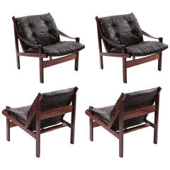 Set of Four Handsome Rosewood and Leather Safari Chairs