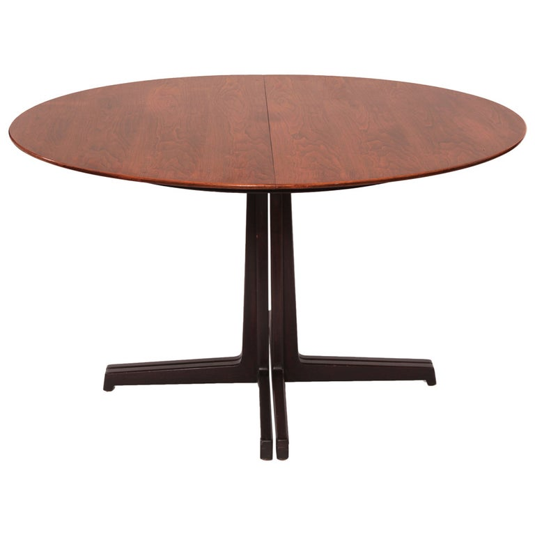 Sculptural Edward Wormley for Dunbar Walnut Dining Table For Sale