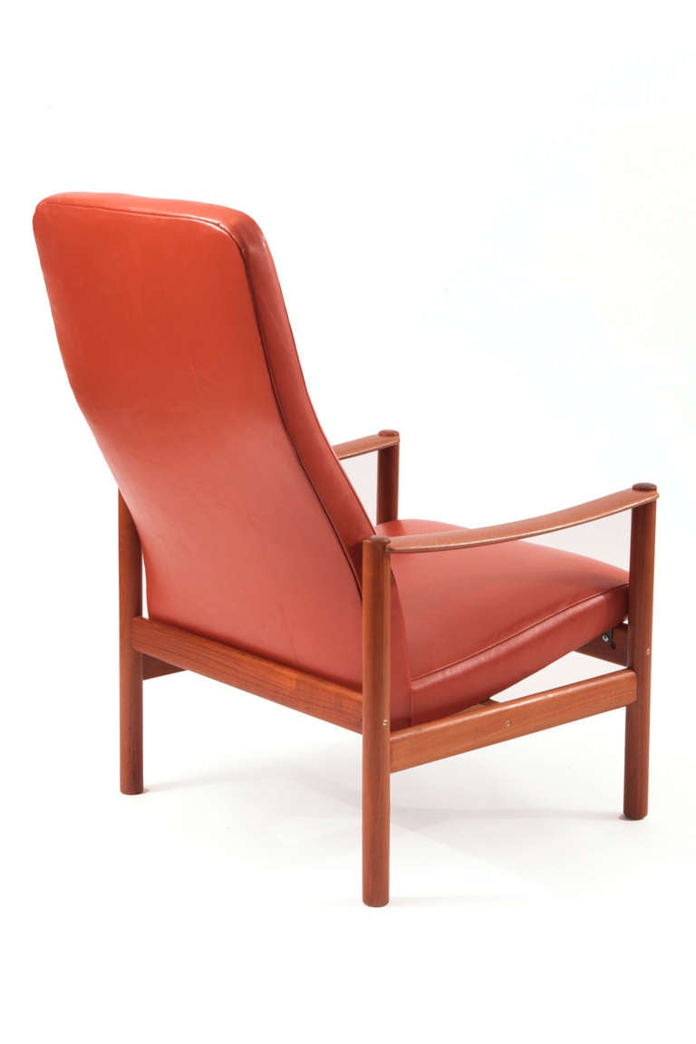 Teak And Leather Lounge Chair And Ottoman For Sale At 1stdibs