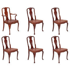 Six Stunning Burled Walnut Queen Anne Dining Chairs