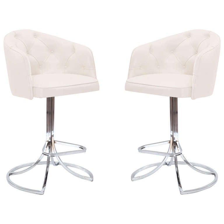 Sculptural Pair of Leather and Chrome Swivel Barstools