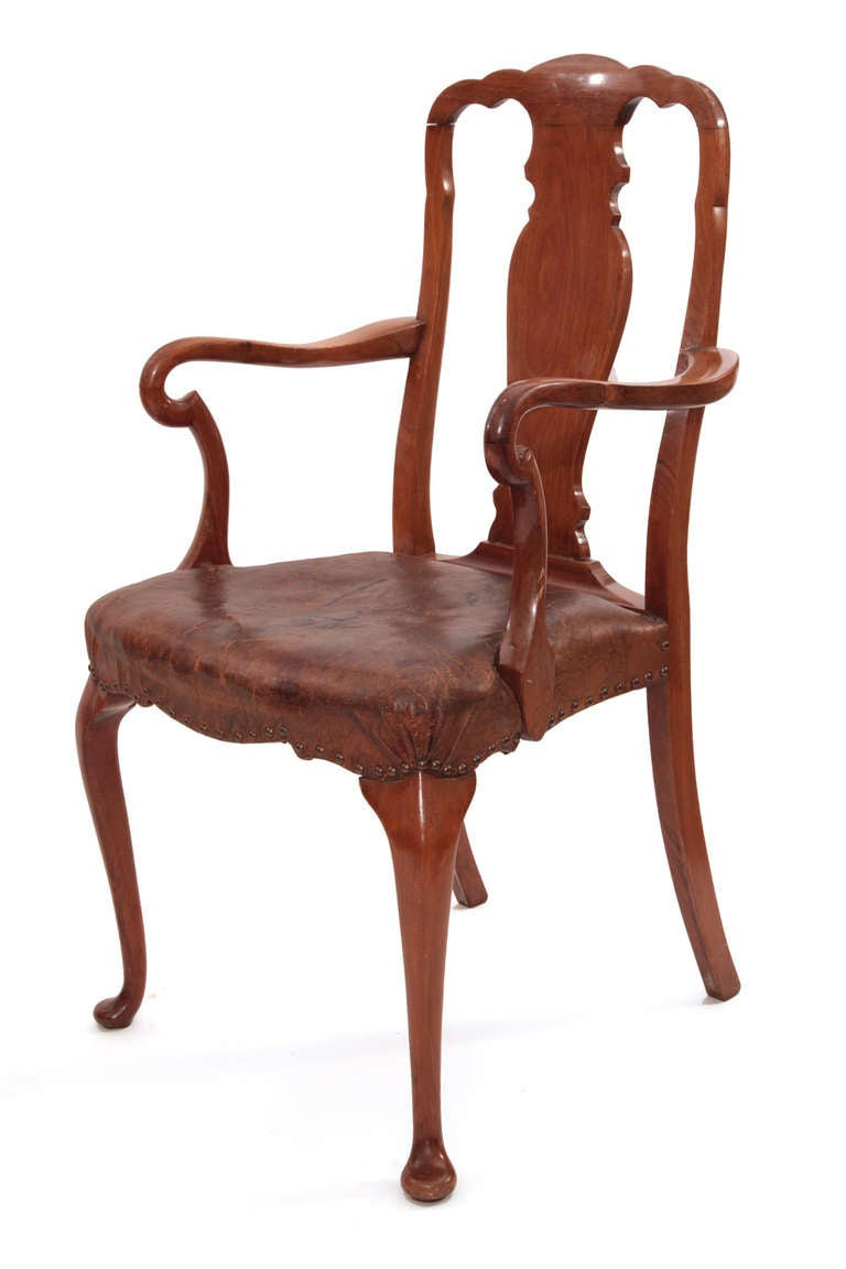 Six Stunning Burled Walnut Queen Anne Dining Chairs For Sale At 1stdibs