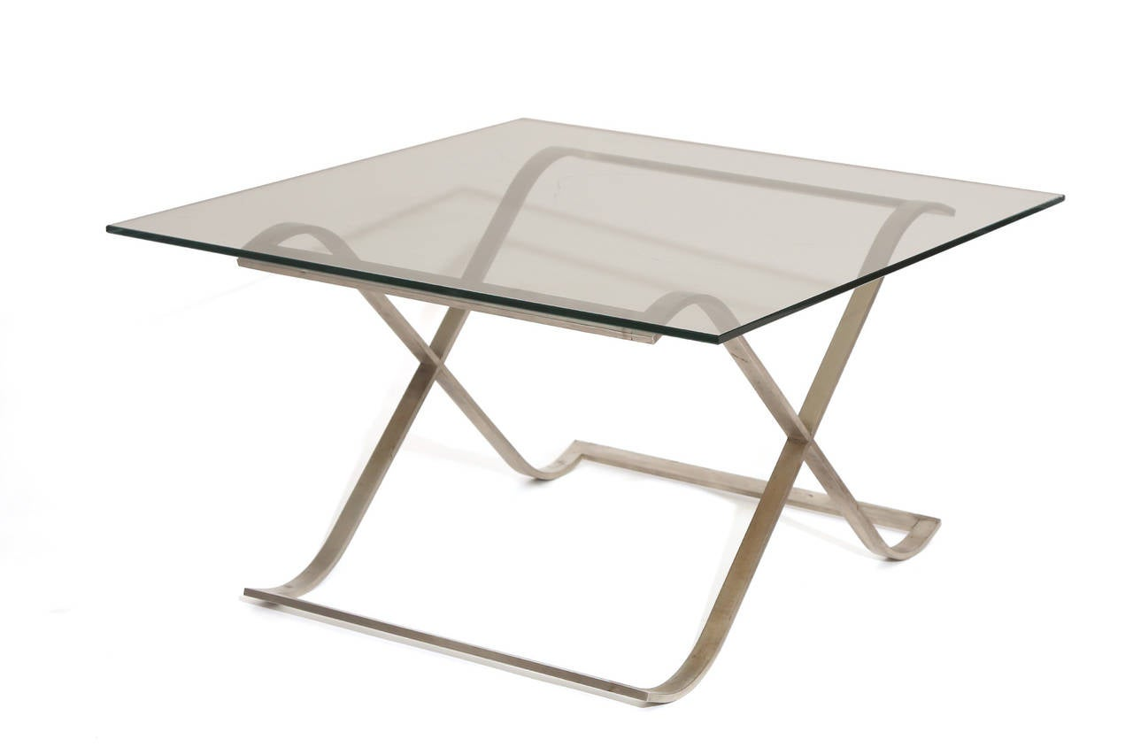 Solid Stainless Steel And Glass Side Table For Sale At 1stdibs