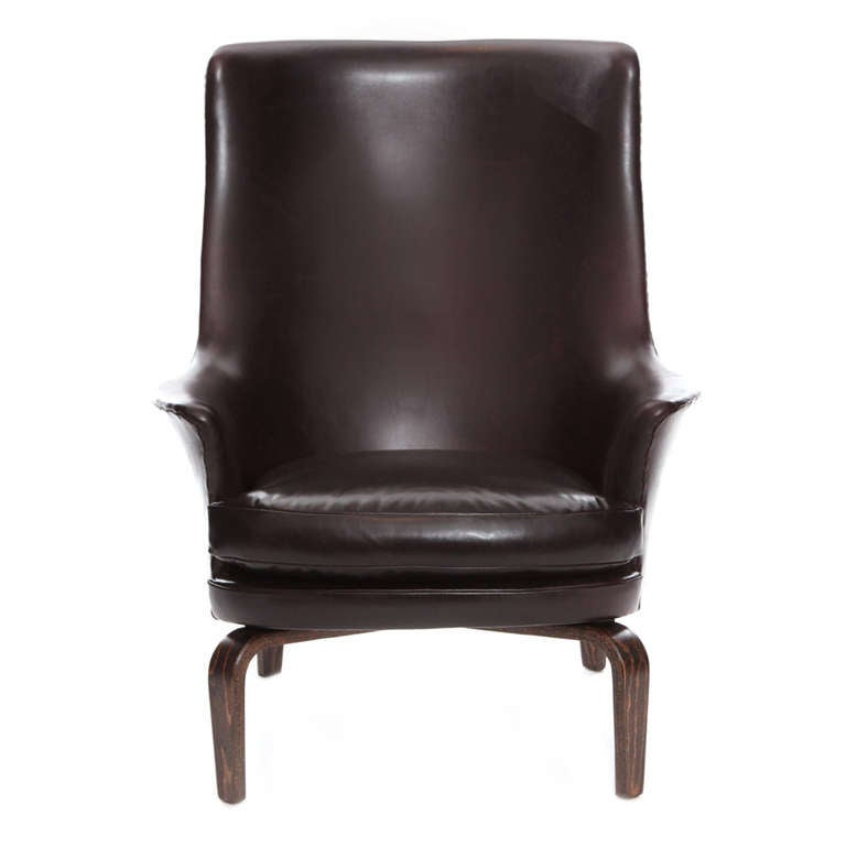 high back leather lounge chair by arne norell at 1stdibs
