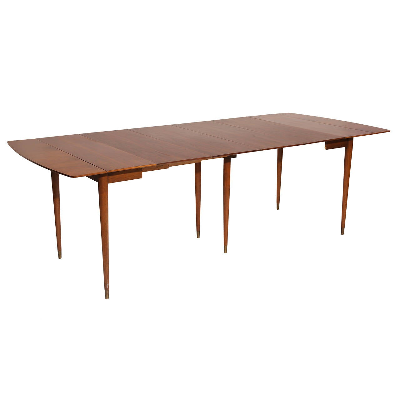 Versatile drop leaf walnut dining table by john widdicomb for Dining room table replacement leaf