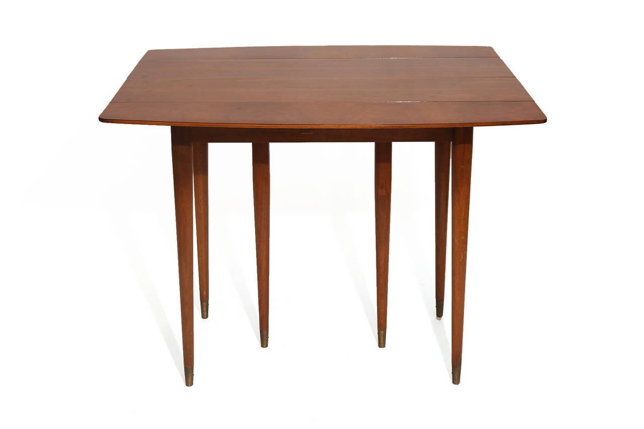 Versatile drop leaf walnut dining table by john widdicomb for Dining room tables drop leaf