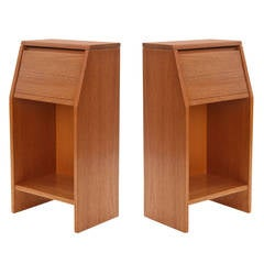 Pair of Striped African Mahogany Nightstands by Brown Saltman