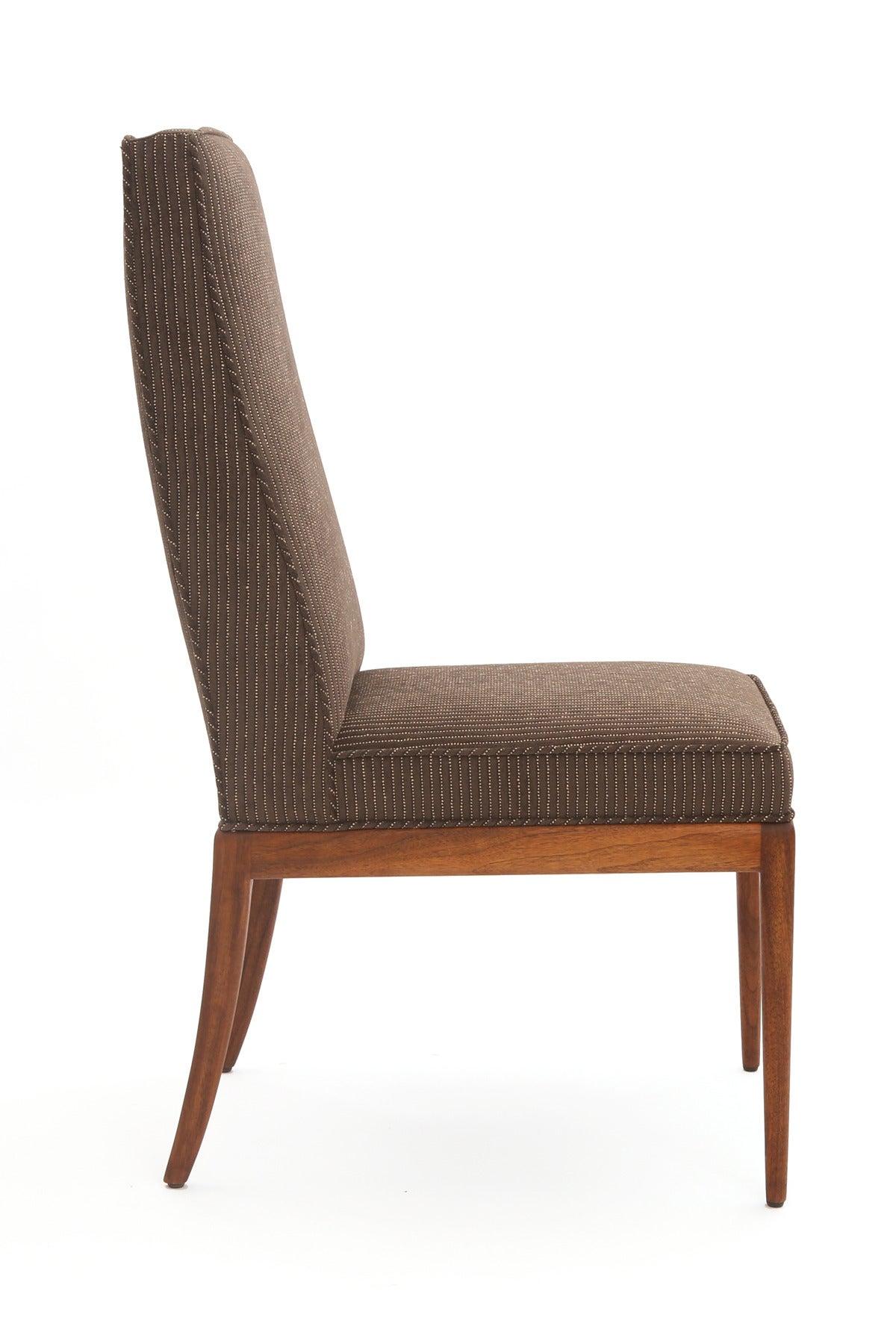 Six saber leg mahogany and upholstered dining chairs at for Upholstered dining chairs with black legs