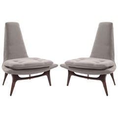 Sculptural Pair of Lounge Chairs by Karpen