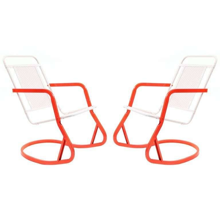 Fabulous 1960s Steel And Aluminum Rocking Chairs At 1stdibs