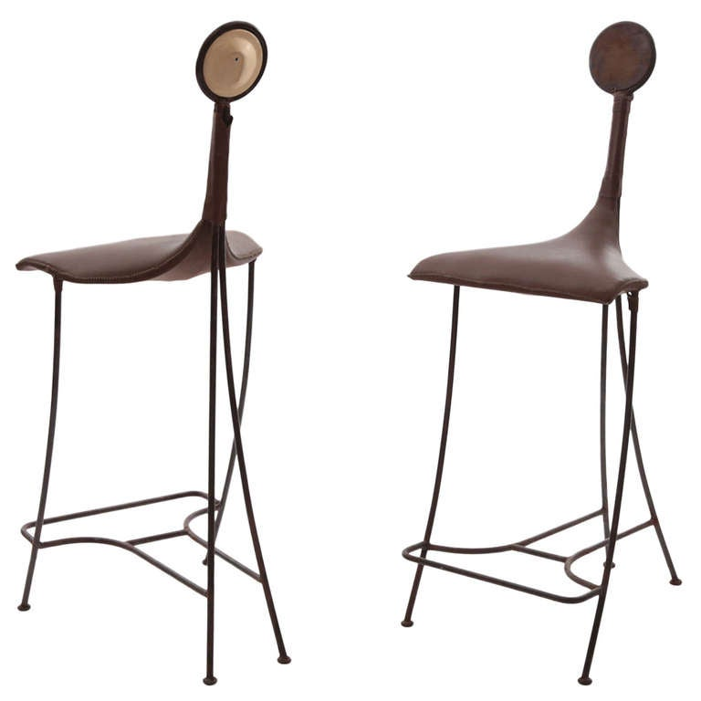 Pair Of Iron Tooled Leather And Ceramic Studio Barstools