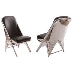 Rare Riveted Aluminum and Leather Cessna Chairs