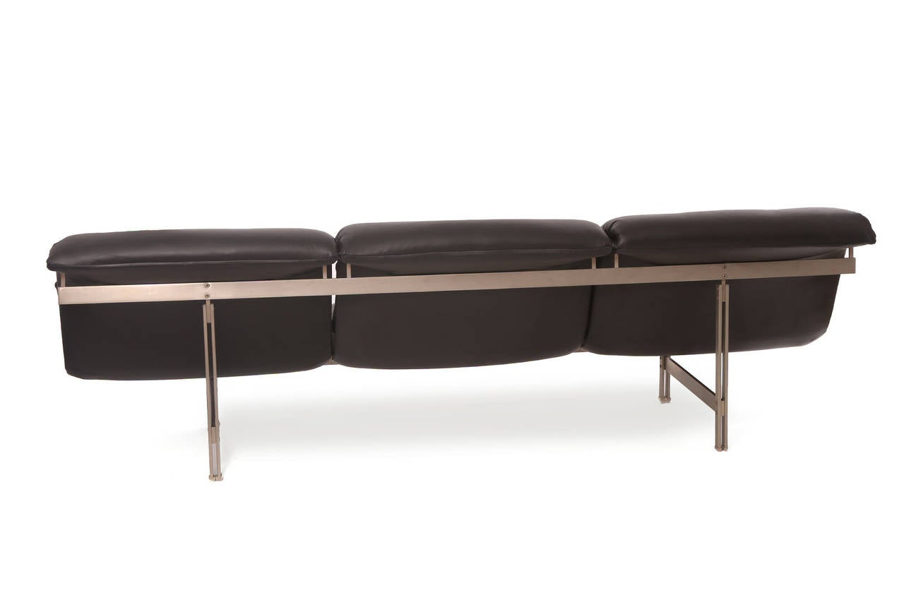 Satin Steel And Leather Wave Sofa By Saporiti 2
