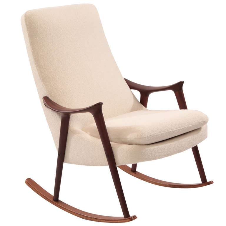 sculptural teak and upholstered rocking chair at
