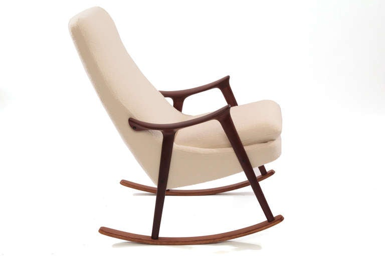 Sculptural teak and upholstered danish rocking chair at 1stdibs