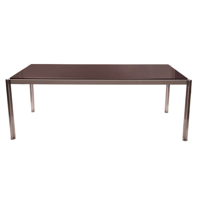 Rare Walnut and Aluminum Dining Table by Jens Risom