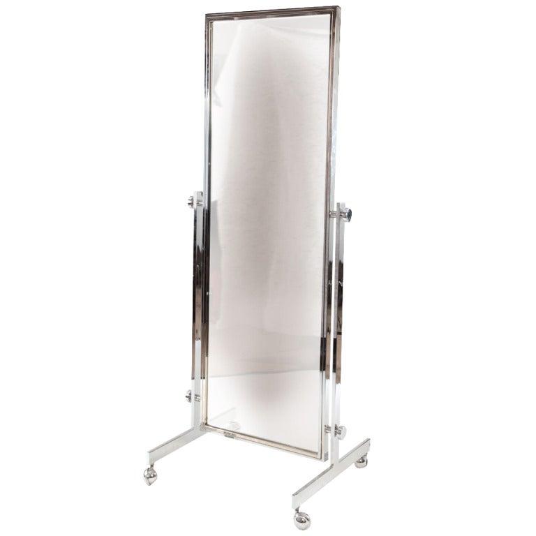 Floor mirror with wheels