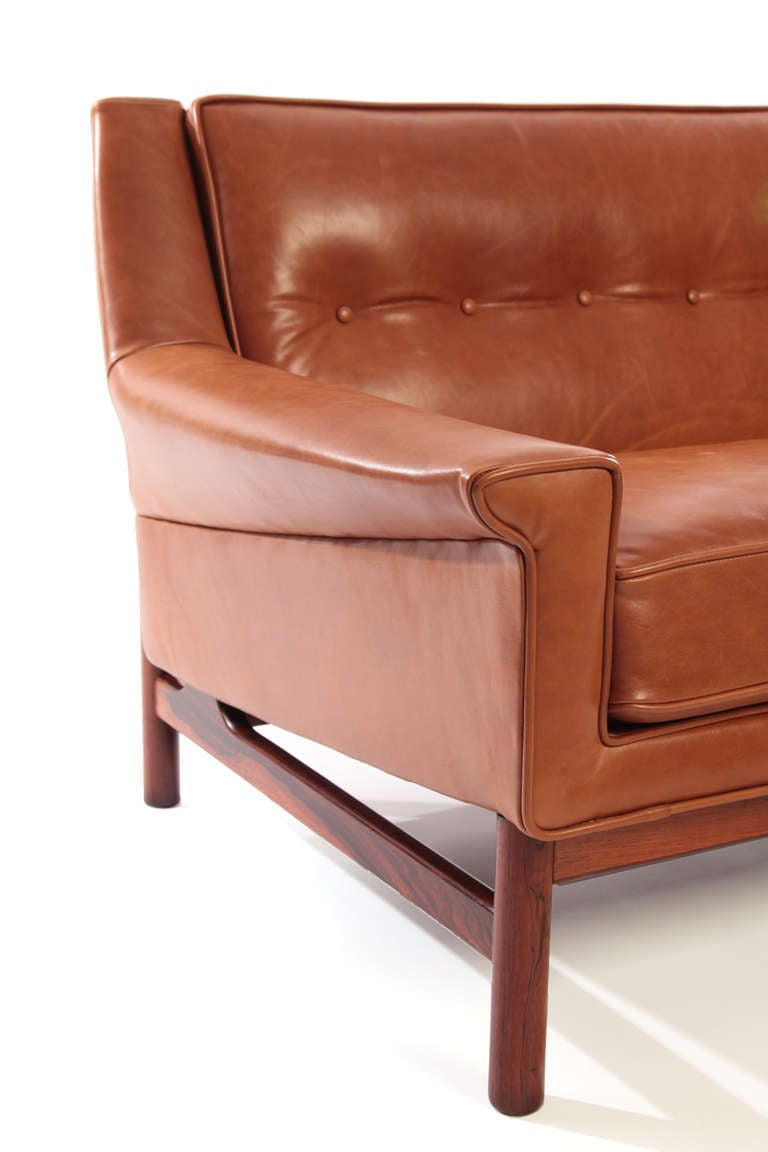 Gorgeous Caramel Leather And Rosewood Danish Loveseat At 1stdibs
