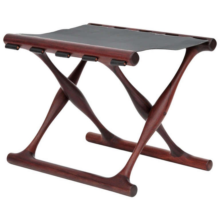 Rare Poul Hundevad Rosewood Folding Stool For Sale