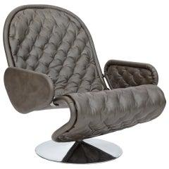 Verner Panton Fritz Hansen Gray Leather 123 Chair