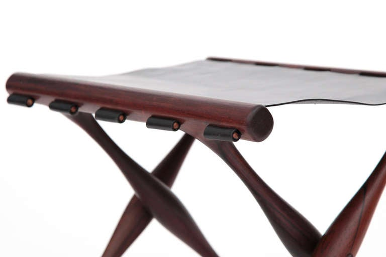 Rare Poul Hundevad Rosewood Folding Stool In Good Condition For Sale In Phoenix, AZ