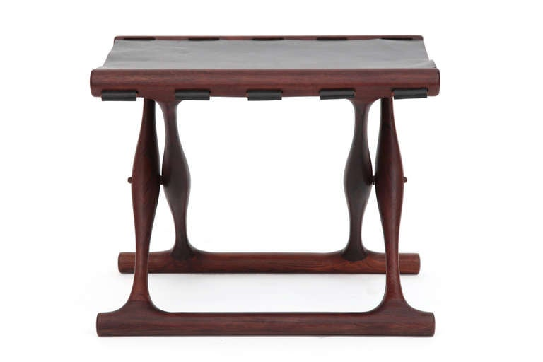 Mid-Century Modern Rare Poul Hundevad Rosewood Folding Stool For Sale