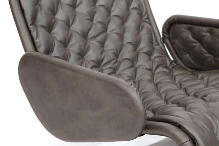 Verner Panton Fritz Hansen Leather 123 Chair For Sale 1